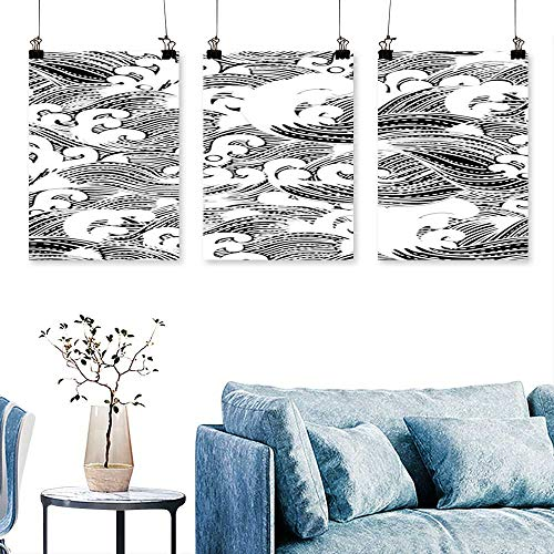 SCOCICI1588 3-Piece Modern Seamless Abstract Pattern,Waves Background,Wallpaper Print On Canvas No Frame 16 INCH X 24 INCH X 3PCS