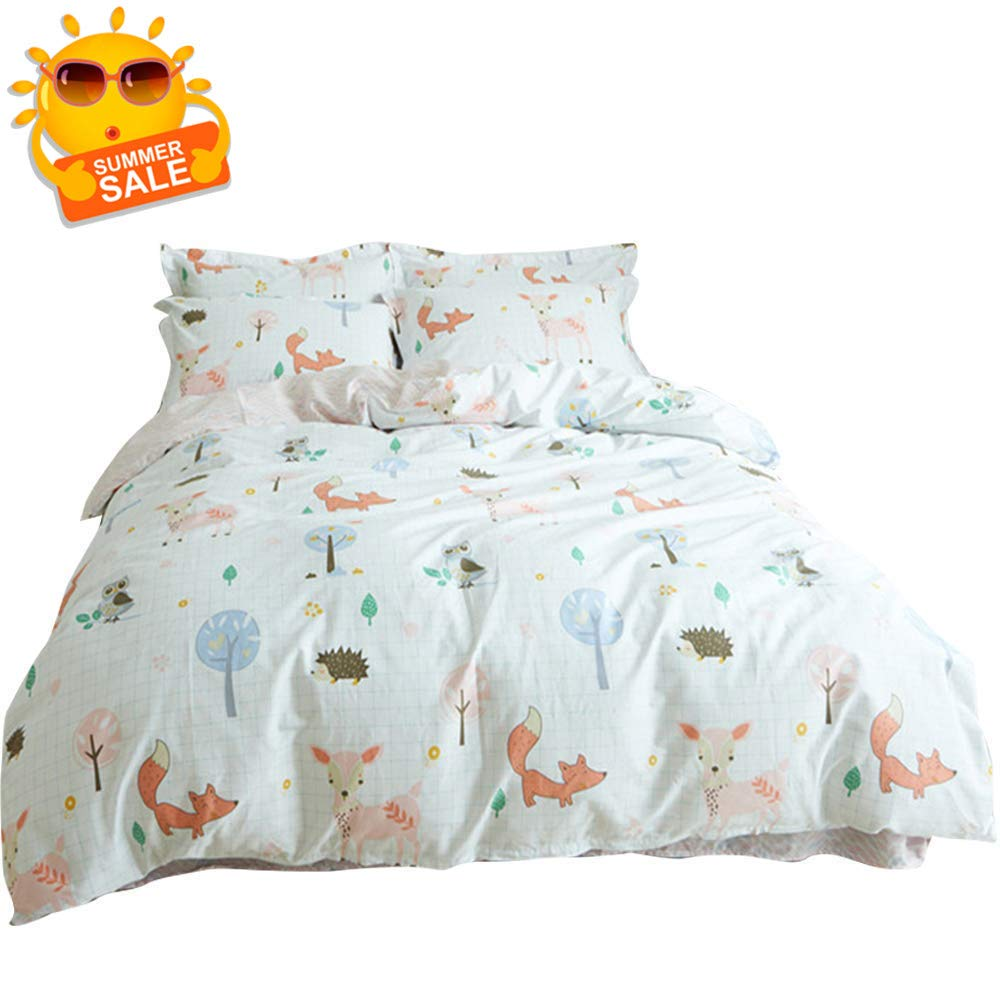 BuLuTu Animal Duvet Cover Twin White 100% Cotton,3 Pieces Woodland Kids Bedding Sets Twin for Boys Girls,Hedgehog Fox Deer Owl Print Twin Duvet Cover and 2 Pillowcases,No Comforter