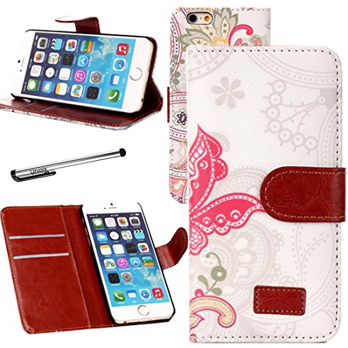 Urvoix Handytasche für Apple iPhone 6/6S (11,9 cm / 4,7 Zoll), Schmetterlingsmuster, aus PU-Leder, mit Kreditkartenfach, aufstellbar (nicht geeignet für iPhone 6/6S Plus)