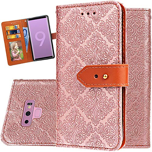 Classic Embossed Wallet - Galaxy Note 9 Wallet Case for Women,Auker Classic Embossed Folio Flip Leather Slim Wallet Case with 3Card Holder&Strap Folding Stand Full Body Protective Purse Case for Samsung Galaxy Note9 (RoseGold)