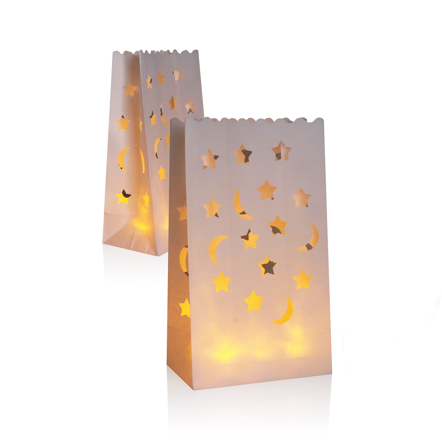 AceList 30 Packs Luminary Paper Lantern, Candle Tealight Tea Light Bag Bags - Flame Resistant Paper for BBQ Party Wedding Reception Party and Event Decor