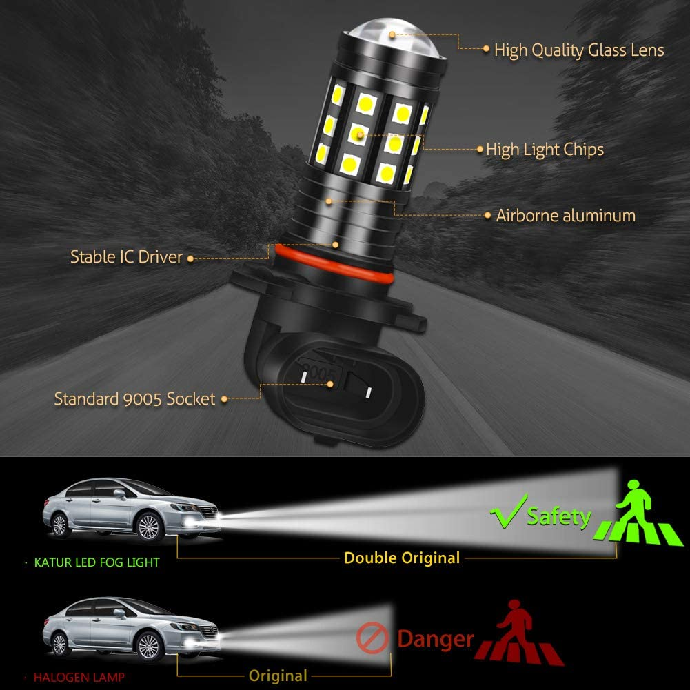 KATUR 9006 HB4 LED Fog Light Bulbs High Power 3030 Chips Super Bright 2700 Lumens with Projector for Driving Daytime Running Lights DRL or Fog Lights,6500K Xenon White Pack of 2