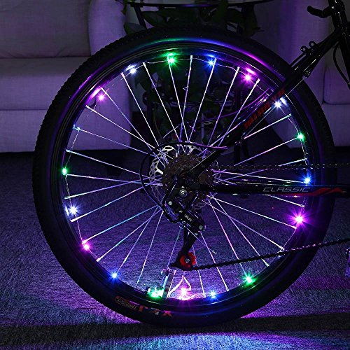 Super Bright 20-LED Bike Waterproof Safety Spoke Lights- Bicycle Cool Colorful Rim Lights - Personalized Mountain Bike LED Colorful Tire Lights - Perfect for Safety and - Oracle Mall