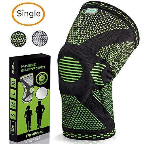 ANRI.E. Knee Brace with Silicone Pad and Elastic Metal Side Bars - Compression Sleeve for Running, Weightlifting, Powerlifting, Volleyball - Check The Size Chart - Size S, M, L, XL ()