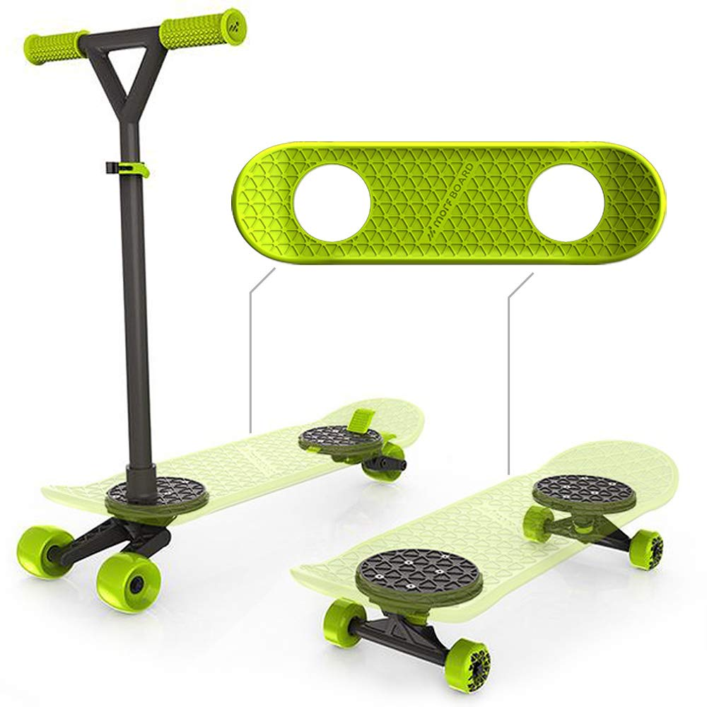 MORFBOARD Skate & Scoot Combo, 2 in 1 Kick Scooter for Kids with 3 Position Adjustable Height and Extra Wide Skateboard Deck, For Boys or Girls 8
