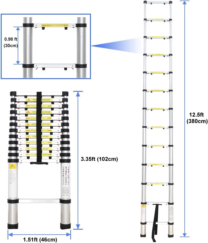 Sotech - Escalera Plegable, Escalera Telescópica, 3,8 Metro(s), Bolsa de transporte GRATIS, Brecha extra, EN 131-6, Carga máxima: 150 kg, Número de peldaños: 13: Amazon.es: Hogar