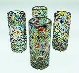 Mexican Shot Glasses, Pebble Confetti, Hand Blown, 2 oz set of 4