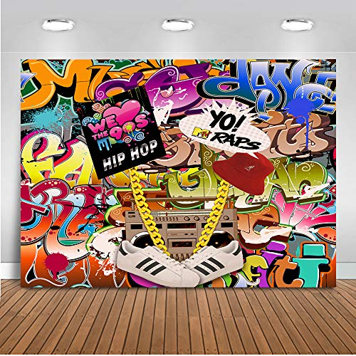 Backdrop Graffiti Hip Pop 90's Party Background 7x5ft Vinyl We Love The 90s Party Banner Decoration Supplies ()