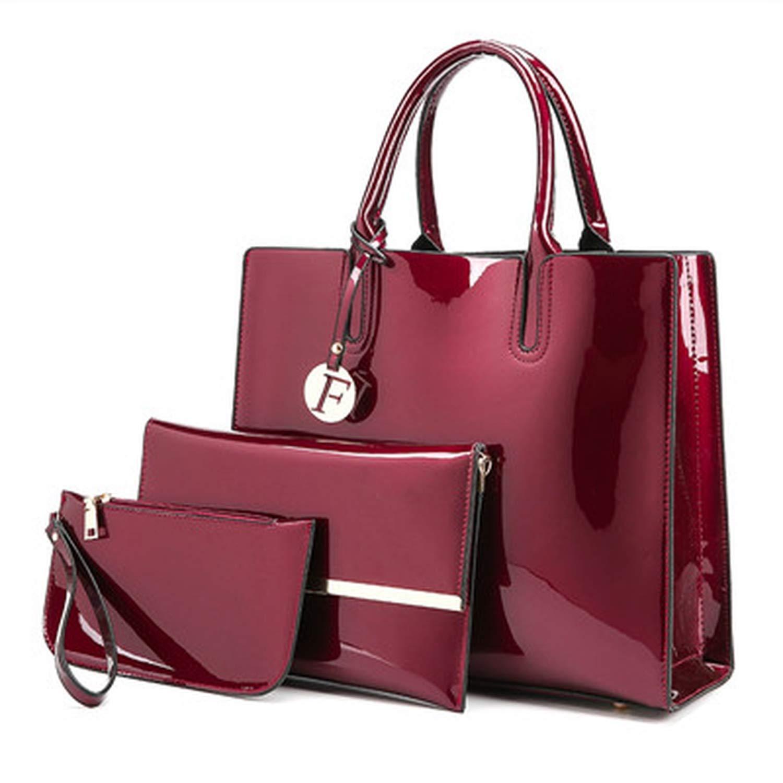 044d53a0da1f Amazon.com  3 Sets Patent Leather Women Handbags Luxury Brands Tote Bag+ Ladies Shoulder Messenger crossbody bag+Clutch Feminina