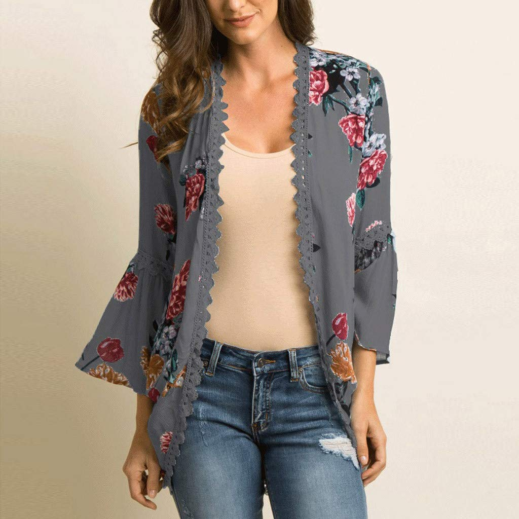 Willow S Women Fashion Casual Chiffon Shawl Floral Print 3//4Sleeve Kimono Cardigan Top Cover Up Loose Blouse Beachwear