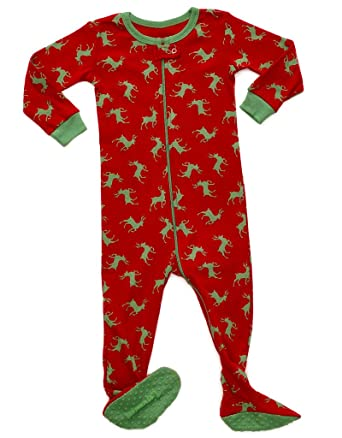 leveret kids green reindeer baby boys girls footed pajamas sleeper christmas pjs 100 cotton