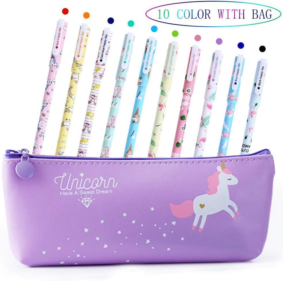Bolígrafos de unicornio para niñas, regalo de cumpleaños escolar, Aperil juego de bolígrafos de unicornio para escribir con tinta negra suave para niños de 3 4 5 6 7 8 9 10 años, 10 unidades