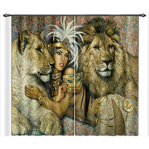 LB Teen Kids Animal Decor Room Darkening Blackout Curtains,Beauty and The Lion Tiger 3D Effect Print Window Treatment Living Room Bedroom Window Drapes 2 Panels Set,28 x 65 inch Length (Curtains Tiger Living Room)
