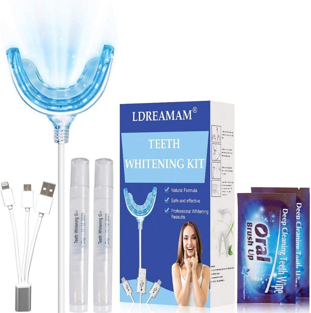 Blanqueamiento de dientes,Kit de Blanqueamiento Dental,Blanqueador Dental,1 Bandeja de Luz LED, Adaptadores para iPhone, Android y USB