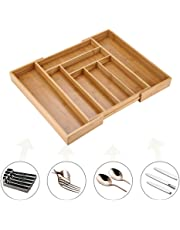 Bandeja para Cubiertos, Caja de Almacenamiento de Cubiertos de Bambú, 6-8 Compartimientos