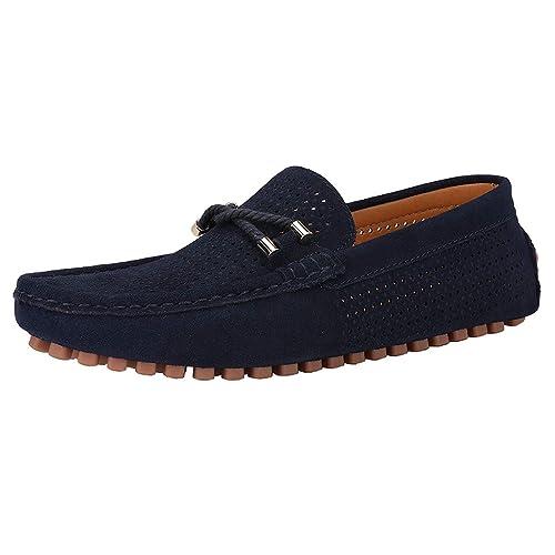 Sommer Herren Mesh Wildleder Mokassins Müßiggänger Flach Bootsschuhe Weich Atmungsaktiv Slip On Fahren Schuhe Silpper Grau Orange Blau Gelb Rot Größe