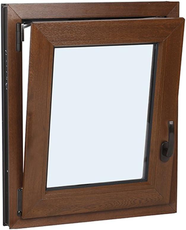 SCHÜCO - Ventanas de PVC Oscilo-batientes Vidrio Climalit - Color Blancas e Imitación Madera - Varias medidas. (Ancho 60cm x 80cm Alto, Foliado Nogal Oscuro)