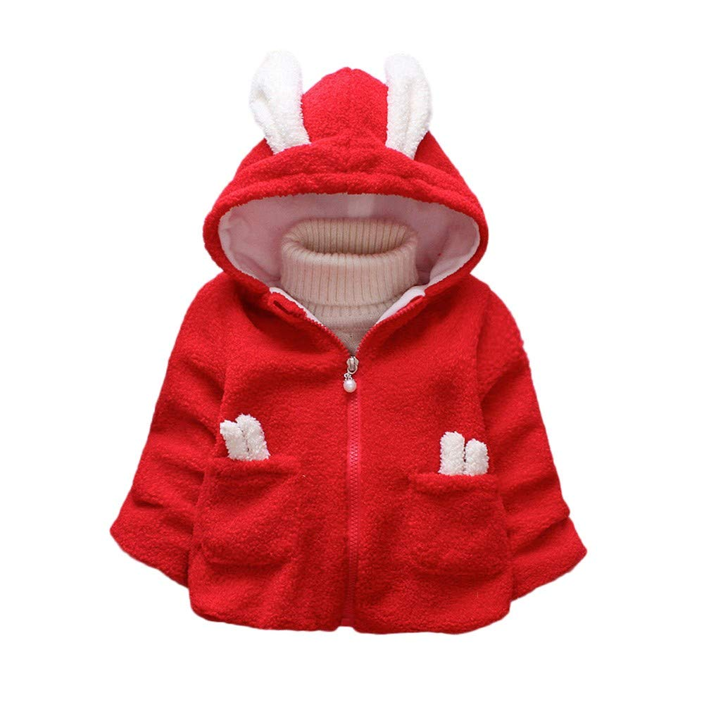 WARMSHOP Infant Baby Boys Girls Fall Winter Warm Coat Jacket Outwear Solid Cartoon Rabbit Faux Fur Hoodies Jacket Outwear China