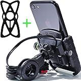 Kaedear(カエディア) バイク スマホ ホルダー 充電 携帯 USB 電源 防水 ミラー マウント付き 360度 ジョイント 回転 スイッチ 原付 オートバイ 高速 QC3.0 (黒)