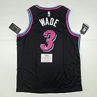 $699 » Autographed/Signed Dwyane Wade Miami Heat Black Vice City Basketball Jersey Fanatics COA