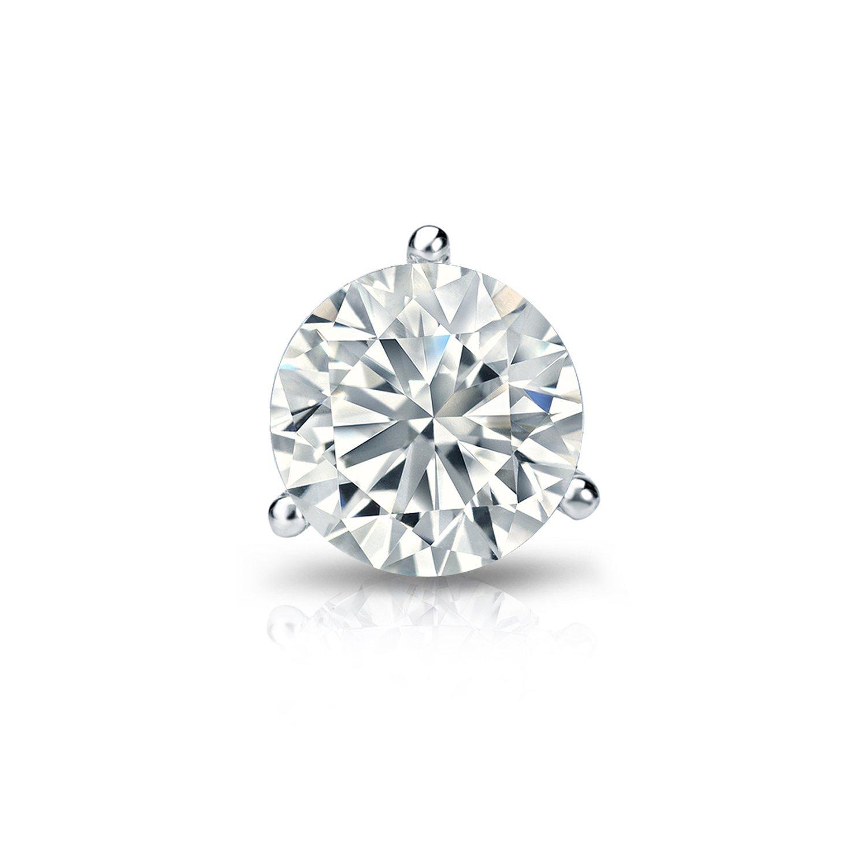 14k White Gold Men Round Diamond Simulant CZ SINGLE STUD Earring 3-Prong(3/5cttw,Excellent Quality)