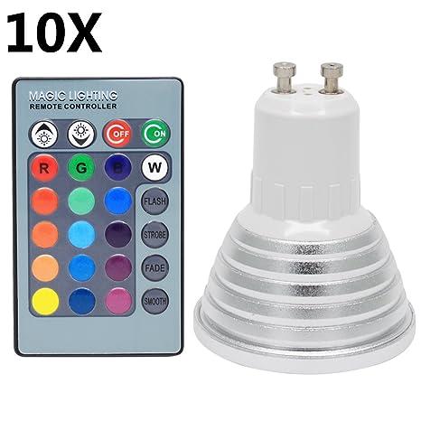 10X GU10 RGB Bombillas LED 3W Lámpara Bombilla 16 Cambio de Color Super Brillante LED Bombillas