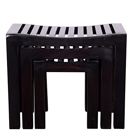 Ringabell Solid Wood Nesting Tables (Blackish Brown)
