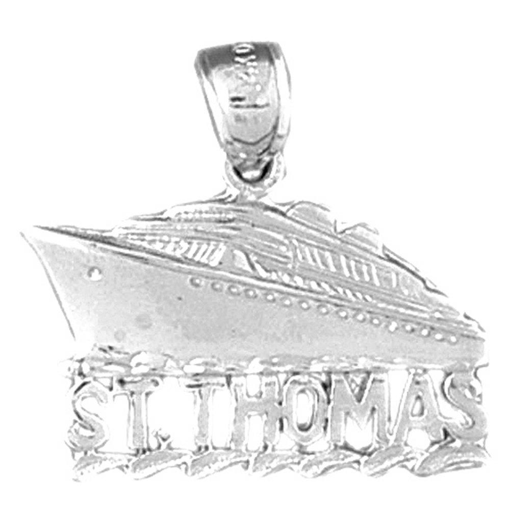 Jewels Obsession St Sterling Silver 925 St Thomas Cruise Ship Pendant Thomas Cruise Ship Pendant 23 mm