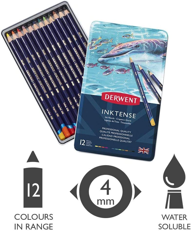 Inktense Ink Pencils Derwent Colored Pencils Drawing Pack 0700927 Art 6 Count Renewed
