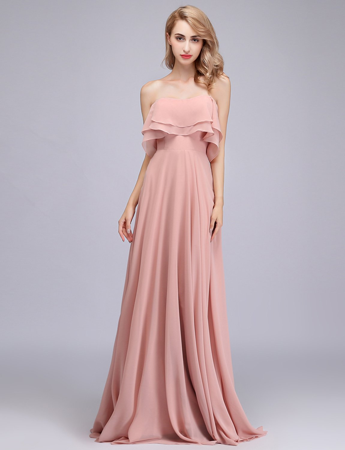 b49bb243ca85 CLOTHKNOW Strapless Chiffon Bridesmaid Dresses Long with Shoulder Ruffles  for Women Girls to Wedding Party Gowns