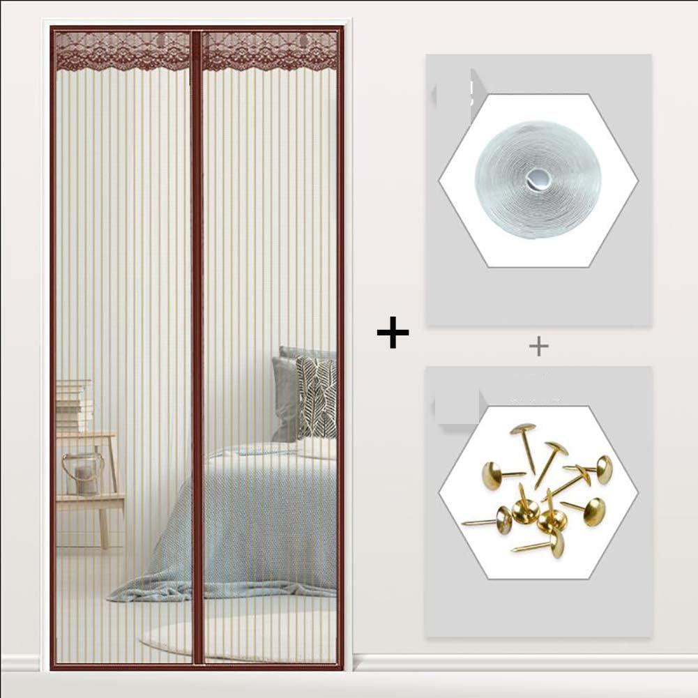 GuoEY Anti Bug - Puerta magnética para Puertas francesas (Puerta Duradera, 120 x 200 cm), Color Blanco, marrón, 85x195cm(33x77inch): Amazon.es: Hogar