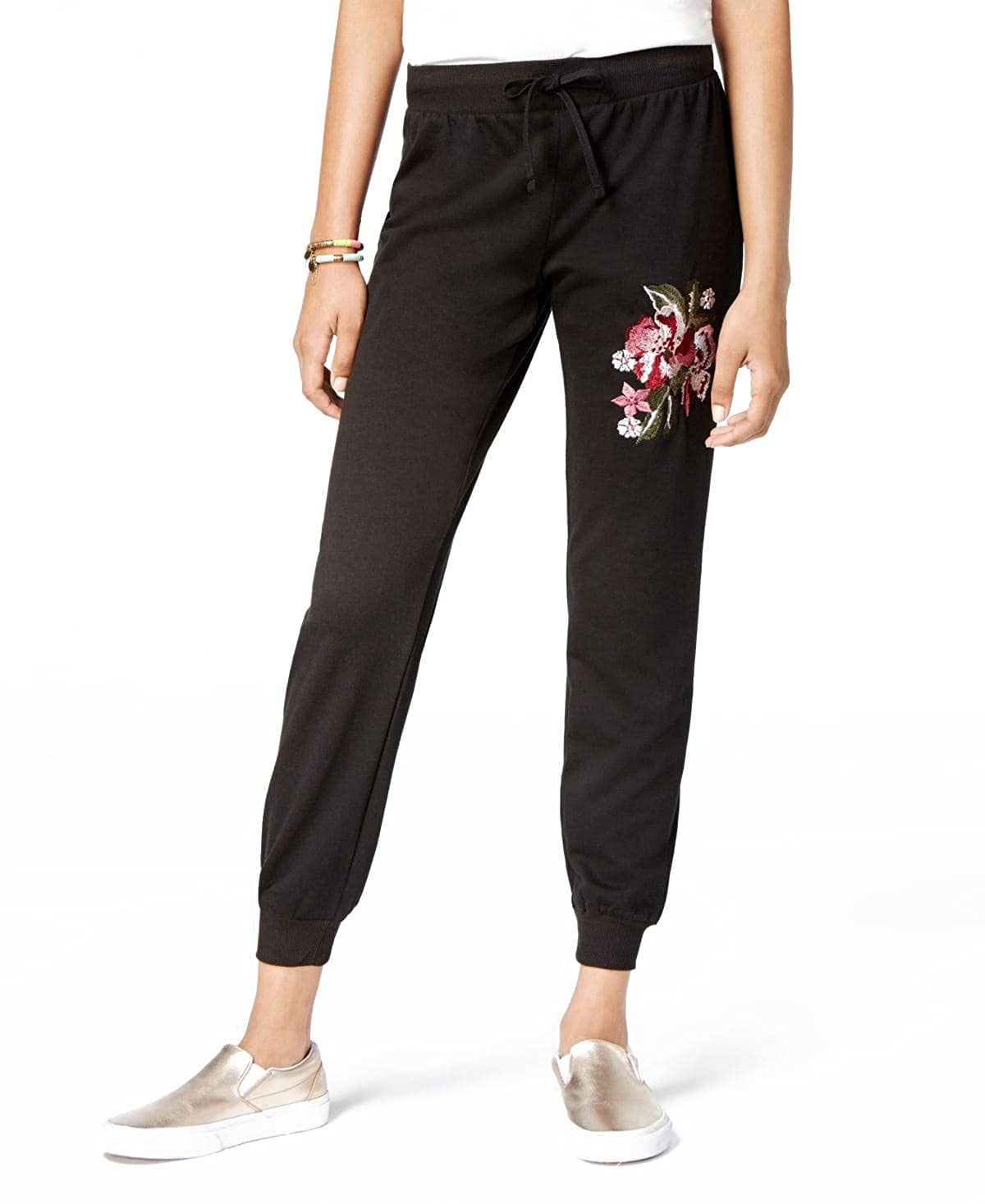 UltraFlirt Womens Embroidered Joggers Pants Black, S
