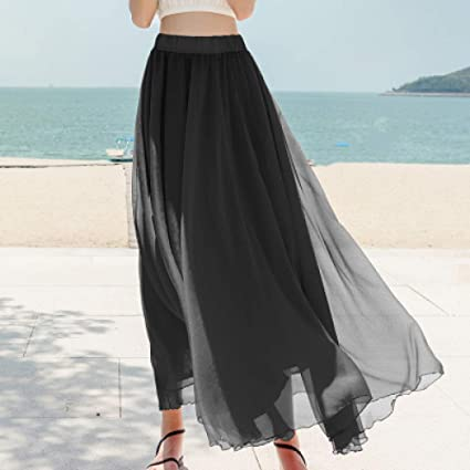 KLGDF Falda 15 Falda Larga de Color sólido Falda Boho de Playa de ...