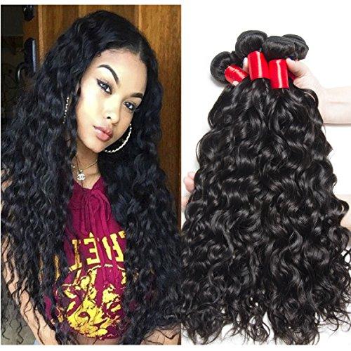 VIPbeauty Brazilian Human Hair Water Wave Bundles 10A Grade Natural Black Can Be Dyed & Bleached 3 Bundles (18 20 22)