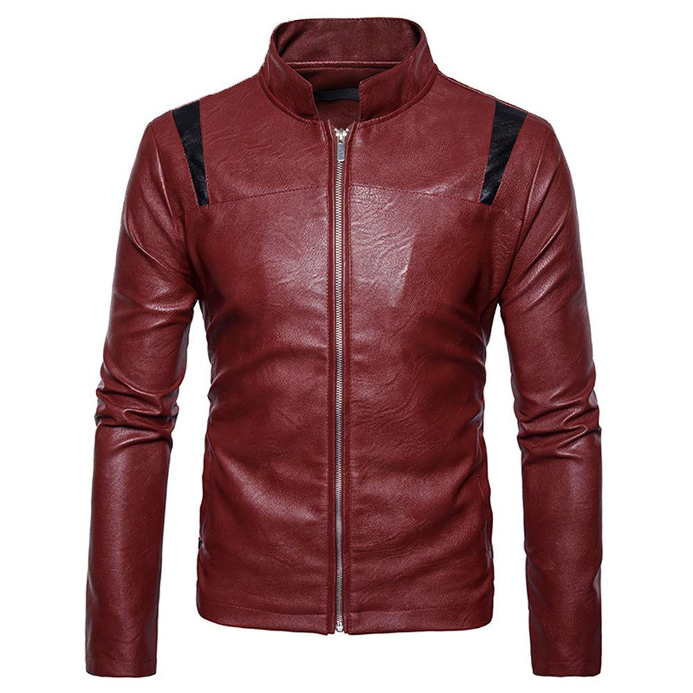 WUAI Clearance Mens Leather Jackets Casual Outdoors Full-zip Stand Collar Fashion Motorcycle Outwear(Red,US Size L = Tag XL)
