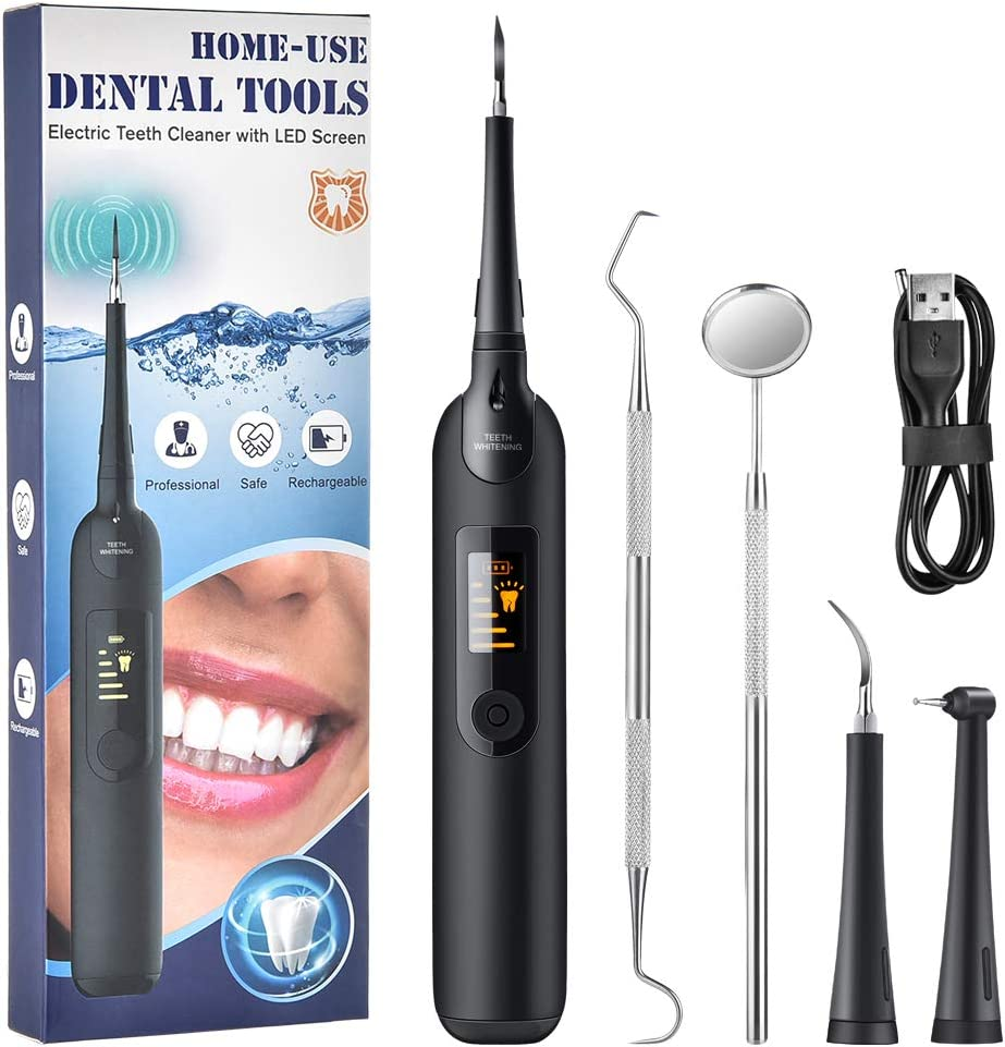 Electric Dental Calculus Remover with LED Screen, Tooth Cleaning Kit with 3 Cleaning Heads & Mouth Mirror, 5 Intensities Suitable for Adults & Kids, Black