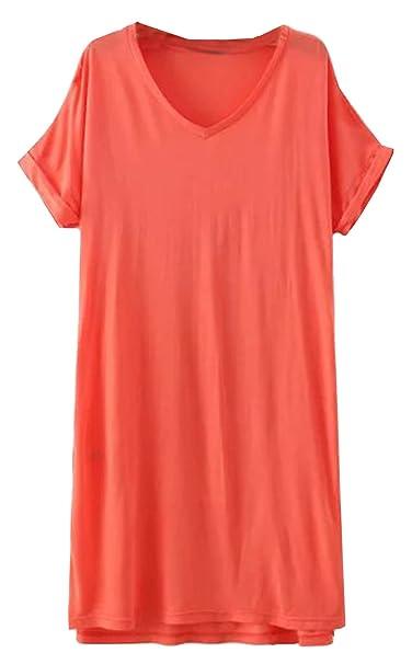SheIn - Vestido - Manga corta - para mujer Naranja naranja Medium