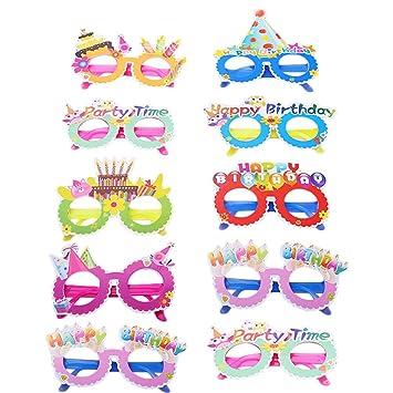 Amosfun 10pcs Fiesta de cumpleaños Gafas de Sol Coloridas Gafas Divertidas favorece el Regalo de cumpleaños de Navidad para niños de niños (Patrones ...