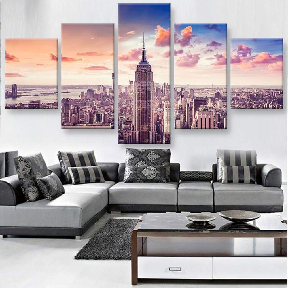 RRFHGH 5 Pezzi su Tela New York City Quadri su Tela da Parete per Decorare la casa