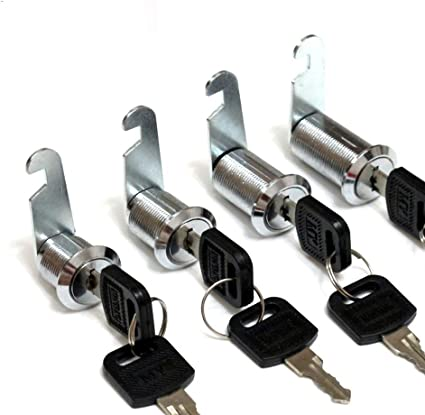 17 mm, cl/és identiques bo/îte aux lettres porte armoire /à outils Bona Lot de 5 serrures tubulaires /à came pour tiroir 2 cl/és