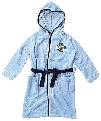 New Boys Manchester City Football Club Fleece Dressing Gown Bath Robe Age 3-12