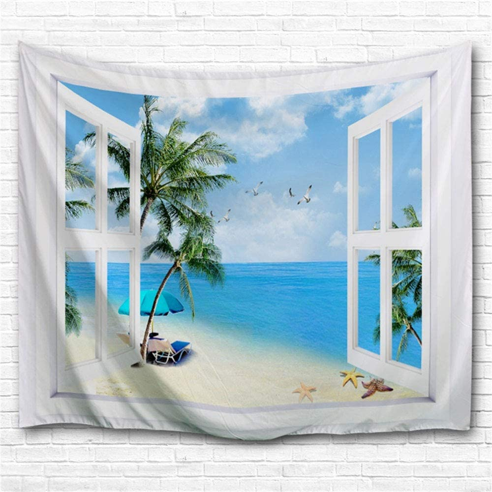 IcosaMro Beach Tapestry Wall Hanging, Window Ocean Sunshine Palm Tree Nature Landscape Scenery Wall Decorations Bohemian Home Decor for Bedroom, Dorm, College, Living Room, 51x60, Blue