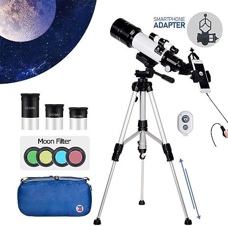 Telescopio con 3 oculares y adaptador para smartphone, telescopio de viaje portátil Seaphy, apertura de 70