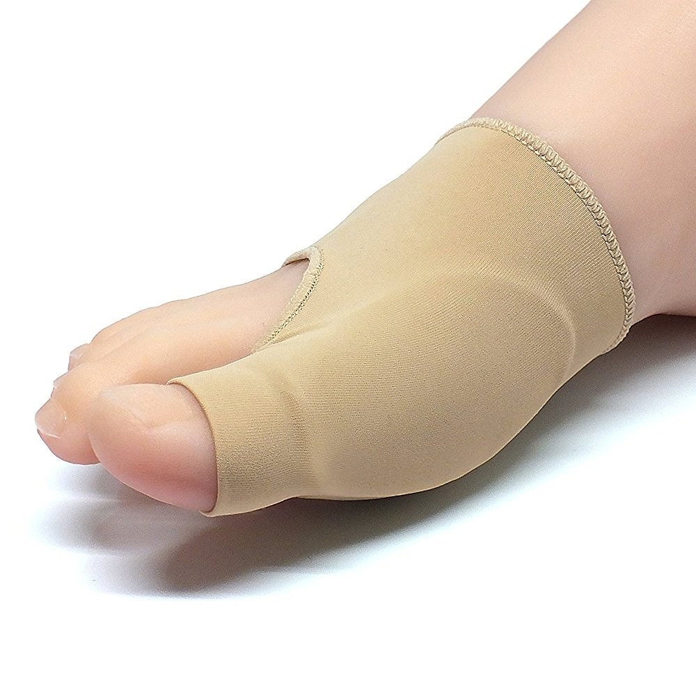 Pu Health Bunion Corrector and Hallux Valgus Relief Sleeve with Gel Cushion Pads, Beige, 3 Count