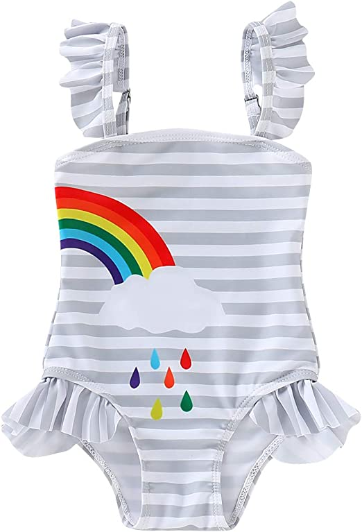 Baby Girls Sister Ruffle Stripe Swimsuit Twins Matching Swimwear Rainbow Print Bathing Suit Onesie