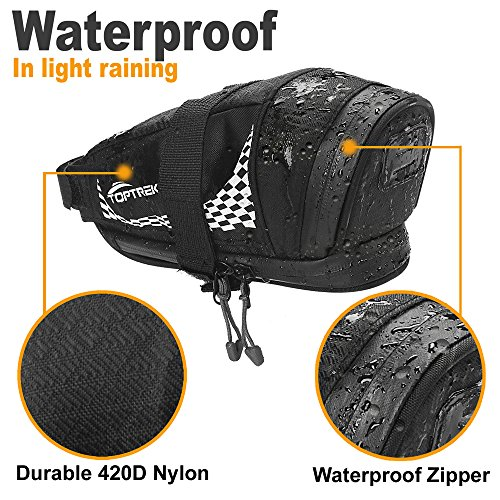 TOPTREK Bike Saddle Bag Outdoor Water Resistant Bike Bags under Seat with Expandable Capacity and Waterproof Zipper Bicycle Seat Bag for Foldable/Road/Mountain Bike by TOPTREK (Image #3)