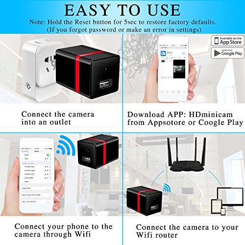 Spy Camera Wireless Hidden Camera WiFi - USB Wall Charger Camera - Nanny Camera - Tiny Mini Home Security Monitoring Cam with Cell Phone App - 1080P HD - Motion Detection - Smart Snap Cam