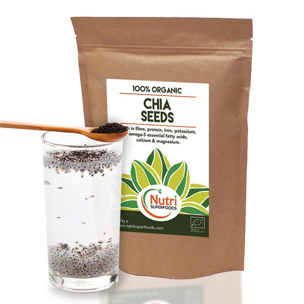 SEMILLAS DE CHÍA ORGÁNICAS NATURALES. Proteína Vegetal Alta Calidad, energizante, mejora el Rendimiento físico, Equilibra el Azúcar en la Sangre, ...