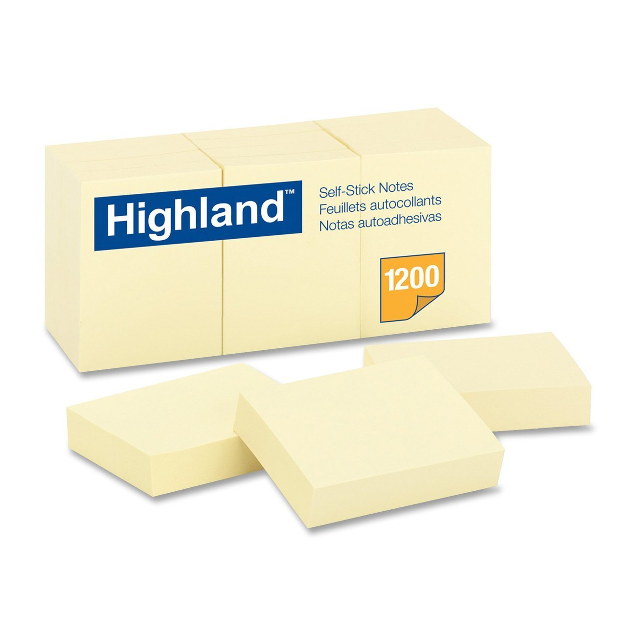 Highland 6539 Self-Stick Notes, 1-3/8-Inch by 1-7/8-Inch, Yellow, 100 Sheets per Pad 36 pack of 12 pads
