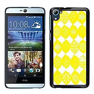 HTC Desire 826 dual Único Patrón Plástico Duro Fundas Cover Cubre Hard Case Cover - Lemon Pattern White Bright Citrus Sun